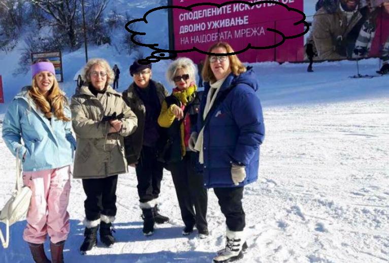 Edita Tahiri  i ka hyp skijav  pasi  rrëzoi  murin ne Mitrovicë  tash po  vozitet  larg gjuhës shqipe  para cirilicës dhe flamurit serb në Brezovicë