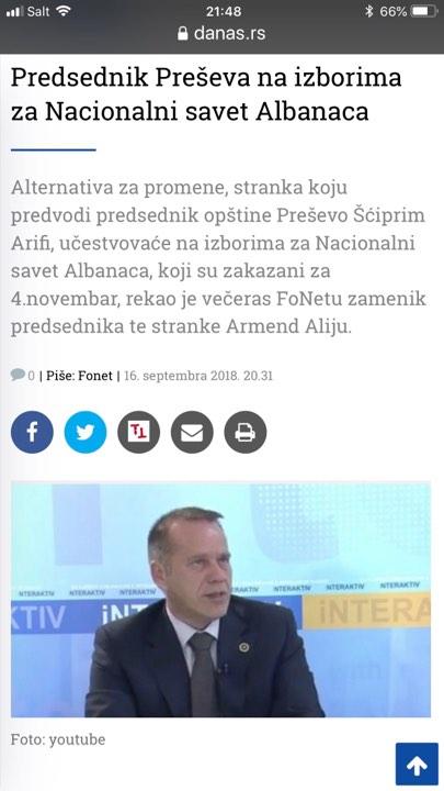 Gazetat serbe e qethin Shqipërim Arifin   shiko foton
